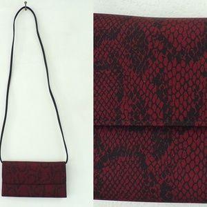 Vintage Cross Body Red Snake Print Wallet String